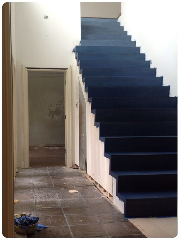 Blue-ombre stained stairs | Little Dragon Decor